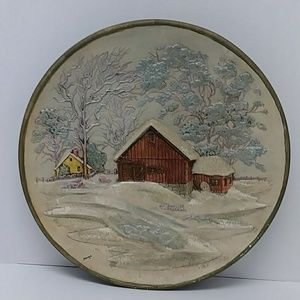 Byron Mold 1972 3D hand painted decorative plate